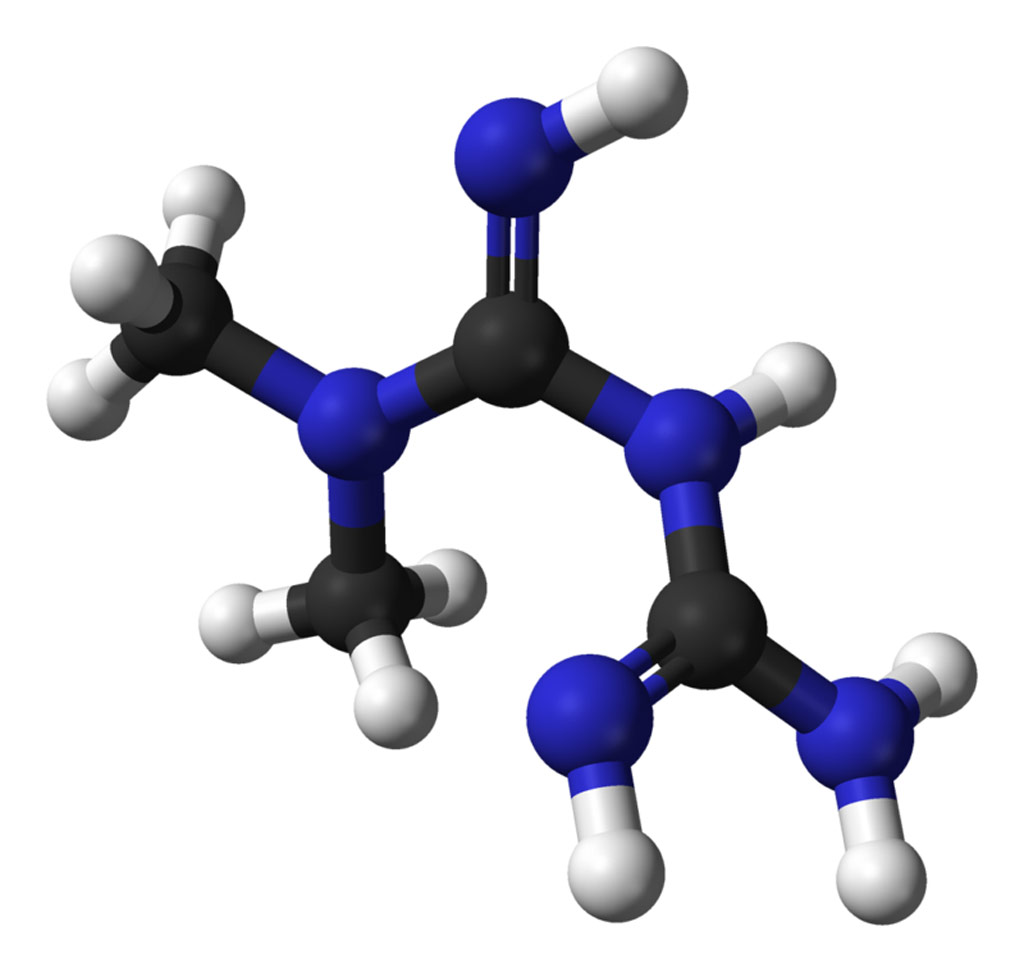 Image: A ball-and-stick model of the metformin molecule (Photo courtesy of Wikimedia Commons).