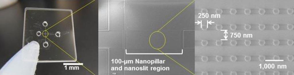 Image: Ultrafast electrophoretic microRNA extraction from a nucleic acids mixture using quartz nanopillars of 250-nanometer diameter arrayed inside a 100-nanommeter high nanoslit region (Photo courtesy of Dr. Noritada Kaji, Nagoya University).