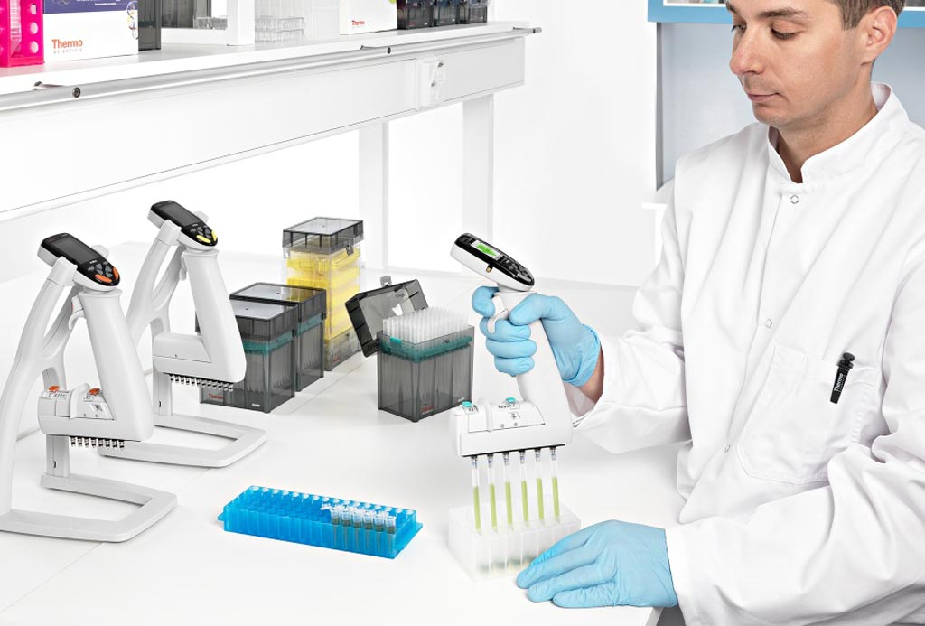 Image: A clinician using E1-ClipTip electronic pipettes (Photo courtesy of Thermo Fisher Scientific).