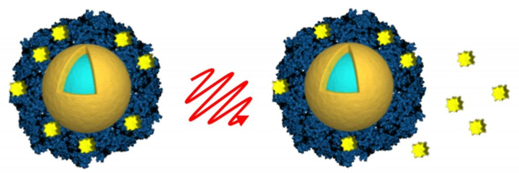 Image: Investigators loaded light-activated nanoshells (gold and light blue) with the anticancer drug lapatinib (yellow) by encasing the drug in an envelope of albumin (blue). Light from a near-infrared laser (center) was used to remotely trigger the release of the drug (right) after the nanoshells were taken up by cancer cells (Photo courtesy of A. Goodman, Rice University).