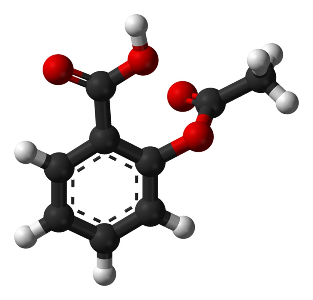 Image: A ball-and-stick model of the aspirin molecule, as found in the solid state (Photo courtesy of Wikimedia Commons).