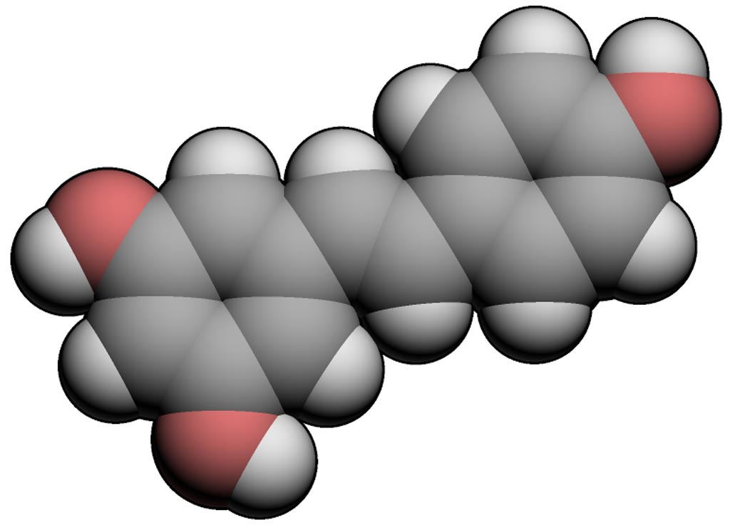Image: A three-dimensional (3D) representation of the chemical structure of trans-resveratrol (Photo courtesy of Wikimedia Commons).
