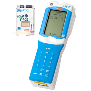 图片A:i-Stat TOTAL ß-hCG——第一款且是唯一的一款手持式怀孕血检(图片取自雅培护理点i-Stat)。