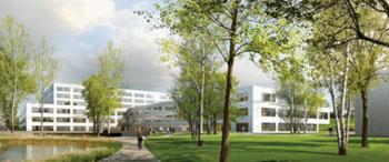 Imagen: Representación artística del nuevo hospital LimmiViva en Schlieren (Fotografía cortesía de Bouygues Construction).