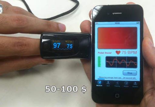 Imagen: La aplicación del ritmo cardíaco comparada con los resultados de la oximetría de pulso (Fotografía cortesía de Heart Fitness).