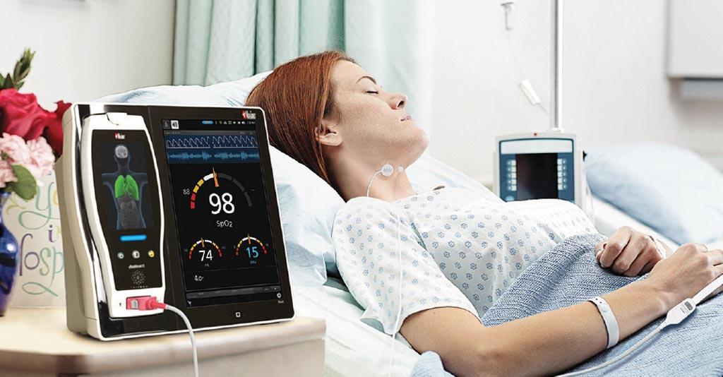 Imagen: la plataforma de monitorización y conectividad del paciente Masimo Root con el sensor de respiración acústico, RAS-45 (Fotografía cortesía de Masimo).
