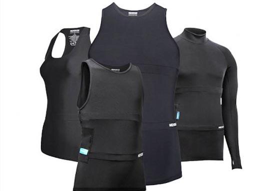 Imagen: La gama de ropa biométrica Hexoskin (Fotografía cortesía de Hexoskin).