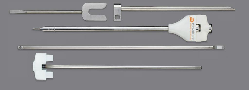 Imagen: El conjunto de instrumentos quirúrgicos del Sistema Espinal DTRAX (Fotografía cortesía de Providence Medical Technology).