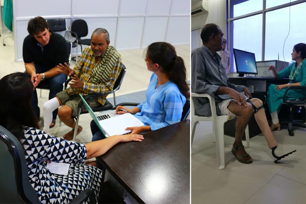 Imagen: Prótesis de pies prototipo en voluntarios indios (Fotografía cortesía del MIT).