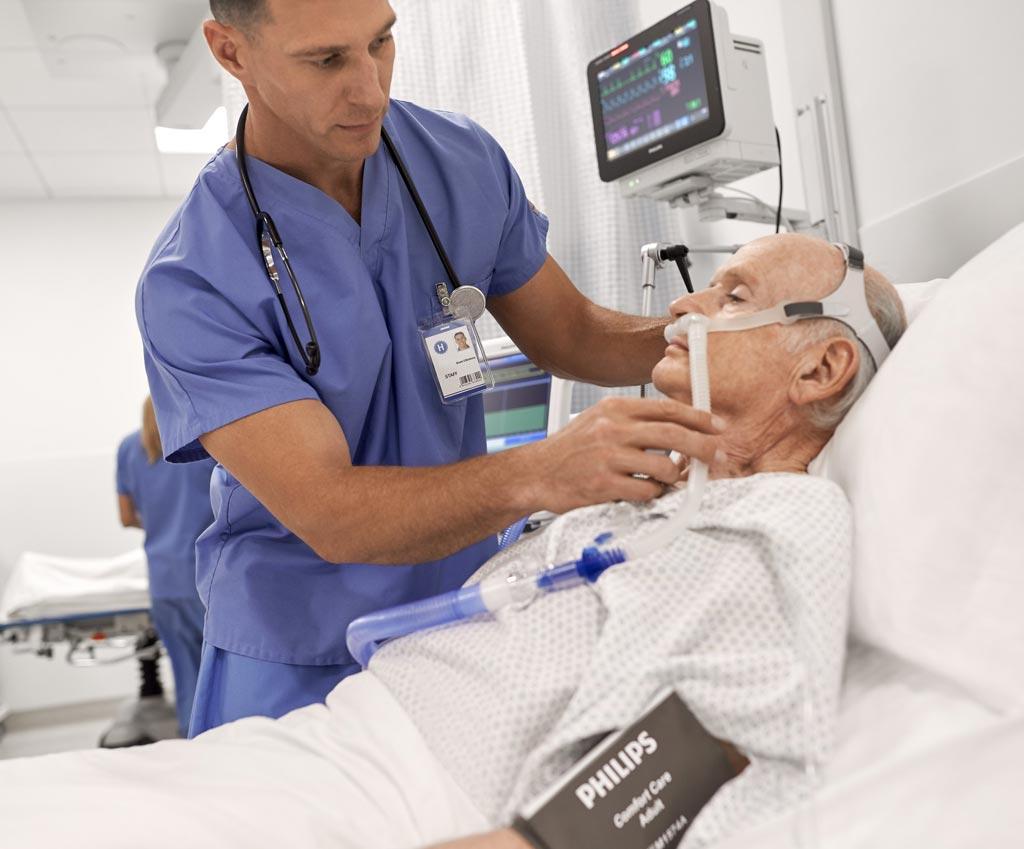 Imagen: El Philips V60 Plus mejora los resultados de los pacientes usando terapias menos invasivas de cuidado respiratorio (Fotografía cortesía de Philips Healthcare).