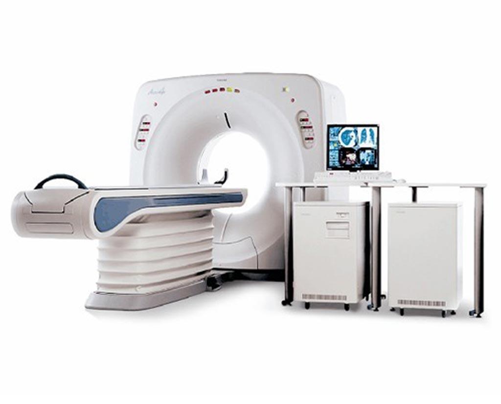Imagen: Un escáner de tomografía computarizada de 4 cortes Toshiba Asteion (Fotografía cortesía de Amber Diagnostics).