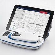 Imagen: El CareLink SmartSync, con estación base, cabezal de telemetría y controlador de iPad (Fotografía cortesía de Medtronic).