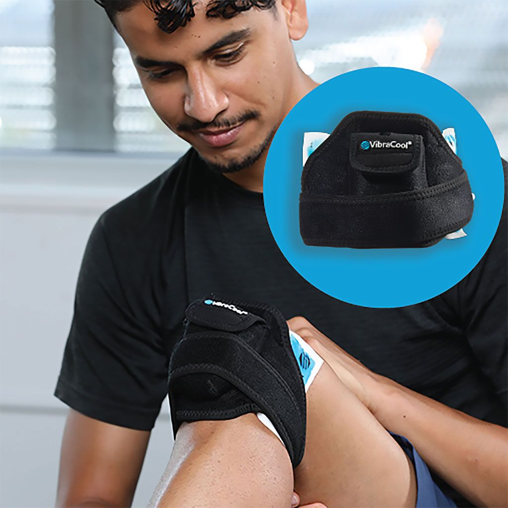 Imagen: El dispositivo VibraCool contiene cuatro cámaras para paquetes de hielo sólido congelado (Fotografía cortesía de Pain Care Labs)