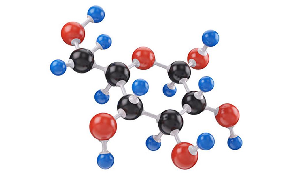 Imagen: Ilustración en 3D de la molécula de la glucosa (Fotografía cortesía de Shutterstock)