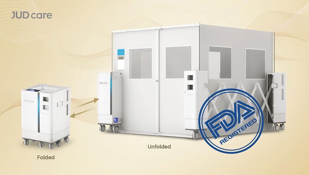 Imagen: Una sala de aislamiento de presión negativa portátil (Fotografía cortesía de JUD Care)