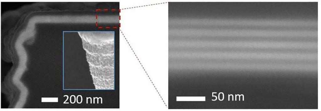 Imagen: Imágenes SEM del revestimiento conformal con ALD en los bordes y esquinas de silicona (Fotografía cortesía de Picosun)