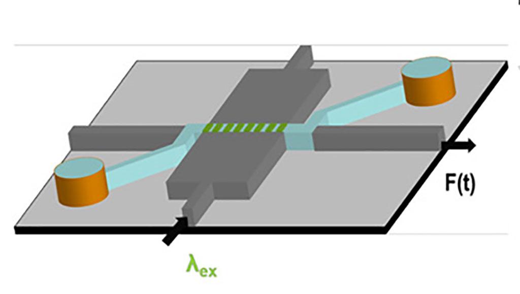 Imagen: Esta ilustración muestra la configuración del chip optofluídico para la detección rápida de antígenos individuales de SARS-CoV-2 e Influenza A (Fotografía cortesía de Stambaugh et al., PNAS 2021)
