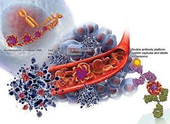 Imagen: Los análisis de biomarcadores, NuQ, capturan e identifican los nucleosomas que circulan en la sangre de los pacientes con cáncer (Fotografía cortesía de VolitionRx).