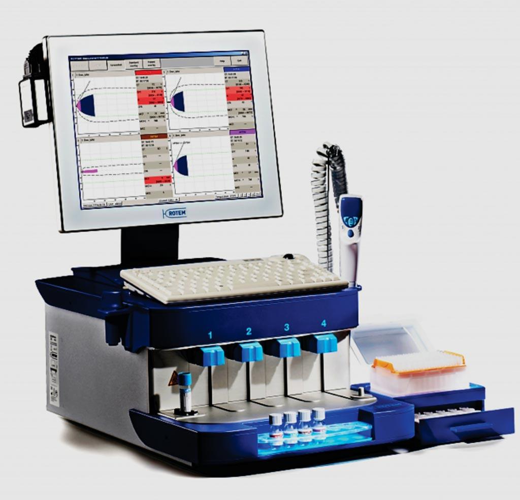 Imagen: El analizador de hemostasia delta con tromboelastometría rotacional (ROTEM) mide los cambios cinéticos de la elasticidad del coágulo de las muestras de sangre total (Fotografía cortesía de ROTEM).