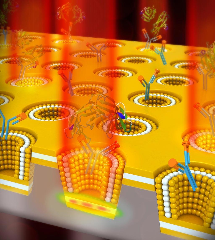 Imagen: El nuevo dispositivo combina dos métodos de detección, que hasta ahora no se podían usar juntos. Utiliza una nanocavidad multicapa en 3D en una matriz de nanocopas, y utiliza la detección plasmónica (Fotografía cortesía de la Universidad de Illinois).