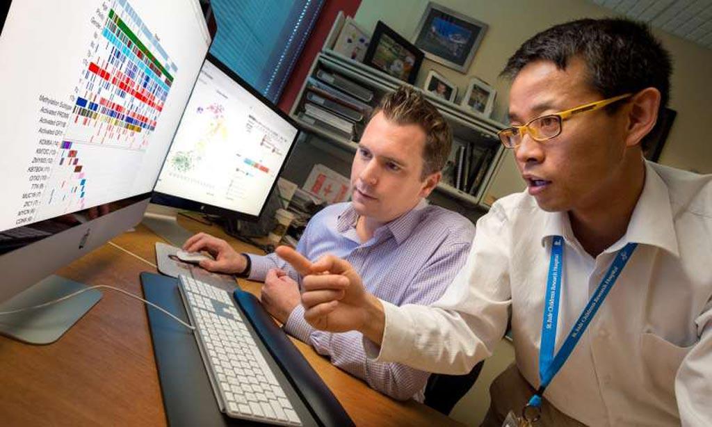 Imagen: el primer coautor, Paul Northcott, PhD., un miembro asistente en el departamento de Neurobiología del desarrollo en St. Jude, y el autor, Xin Zhou, PhD, científico investigador principal del de bioinformática (Fotografía cortesía de Seth Dixon/Hospital Infantil de Investigación de St. Jude).