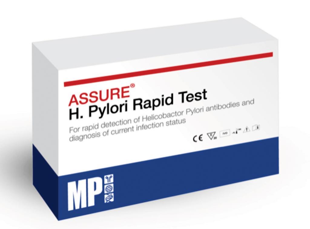 Imagen: La prueba rápida Assure H. Pylori es una prueba inmunocromatográfica para diagnosticar la infección por H. pylori en pacientes con trastornos gástricos (Fotografía cortesía de MP Biomedicals).