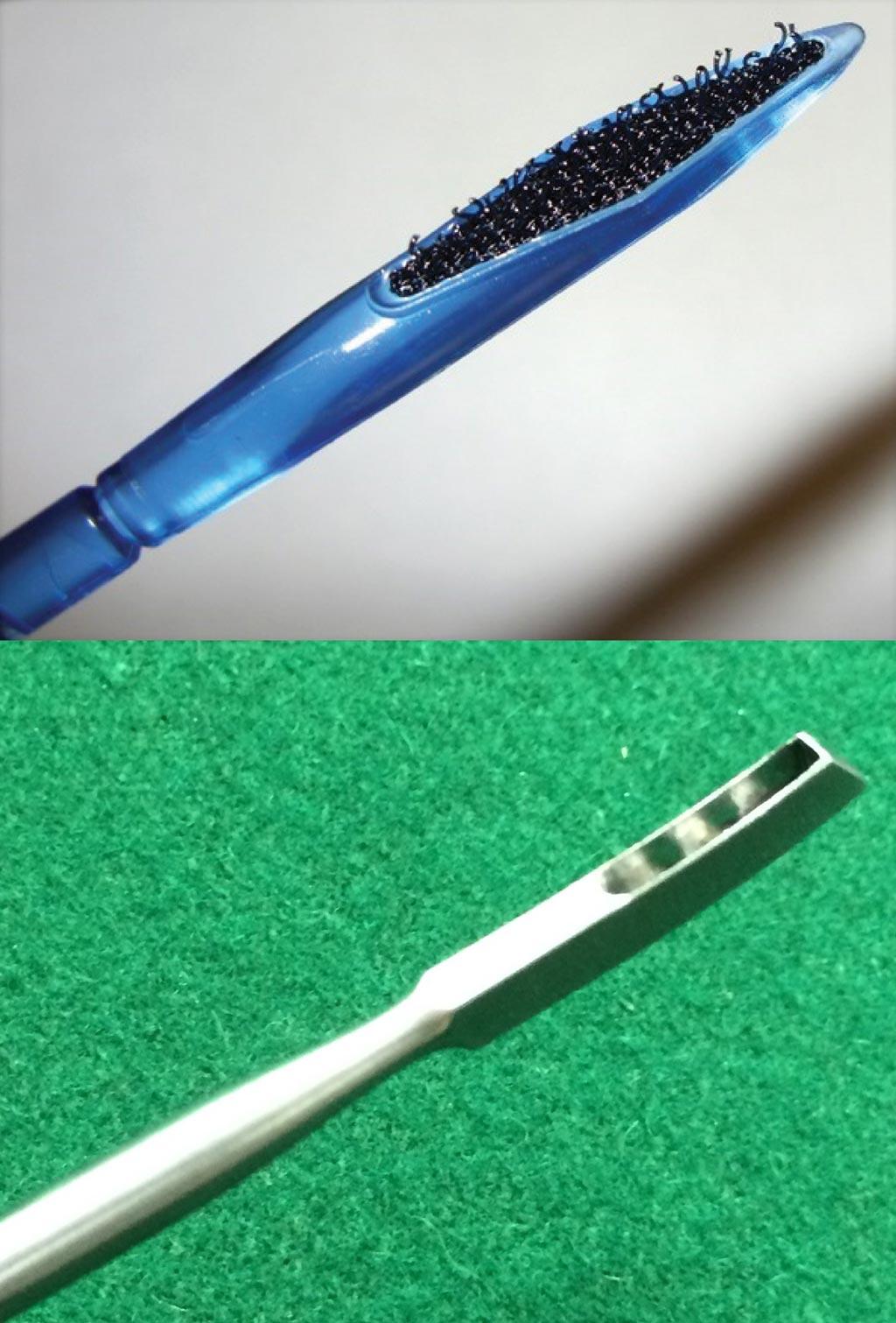 Imagen: El nuevo dispositivo tipo velcro, hecho en tela (arriba) y el raspador de metal estándar usado actualmente (parte inferior) (Fotografía cortesía de J. Diedrich, UC Riverside).