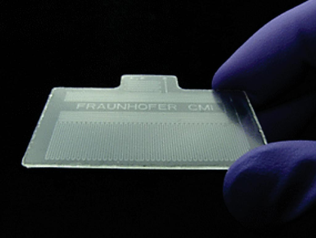 Imagen: Una fotografía del chip termoplástico para la reacción en cadena de la polimerasa con transcriptasa inversa cuantitativa (qRT-PCR) (Fotografía cortesía de Fraunhofer USA).