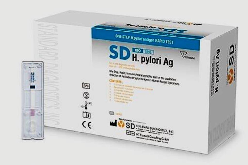 Imagen: La prueba H. pylori Ag, es una prueba rápida para la detección cualitativa del antígeno de Helicobacter pylori en muestras de heces humanas (Fotografía cortesía de Standard Diagnostics).