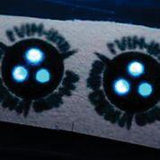 Imagen: Este primer plano de la tira de papel que brilla en la oscuridad contiene dos copias de la prueba. Los tres puntos brillantes por prueba indican que puede verificar tres anticuerpos diferentes dentro de una prueba (Fotografía cortesía de Bart van Overbeeke).