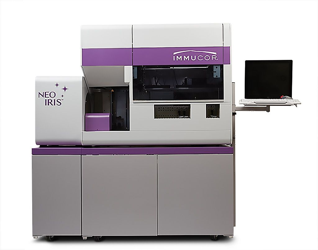 Imagen: El NEO Iris es un analizador de inmunohematología completamente automatizado para pruebas de diagnóstico in vitro de sangre humana (Fotografía cortesía de Immucor)