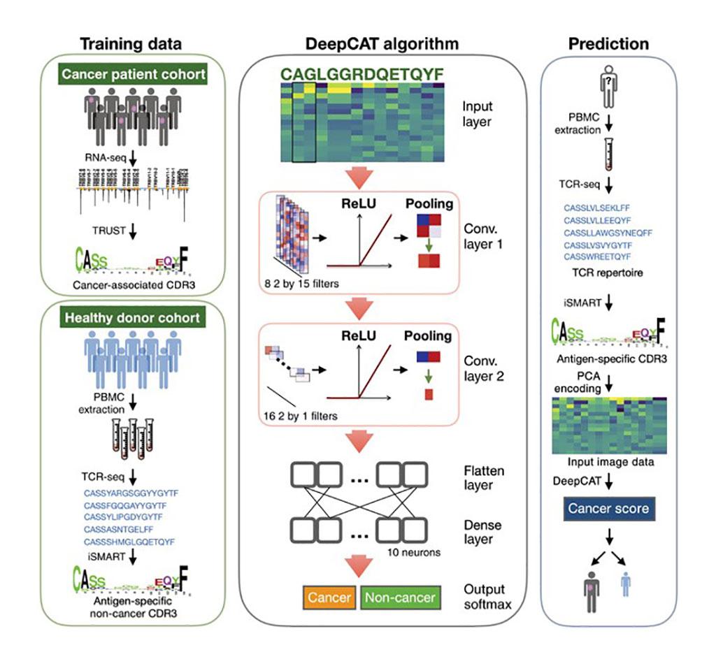 Imagen: Predicción de novo de receptores de células T asociados al cáncer para la detección no invasiva del cáncer (Fotografía cortesía de UT Southwestern Medical Center).