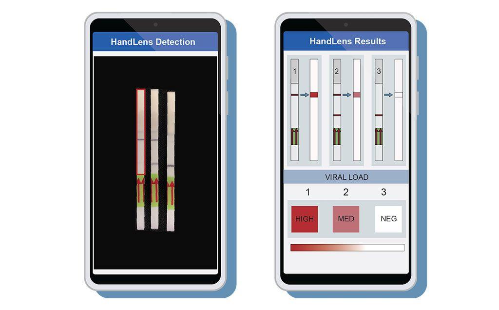 Imagen: Se diseñó una aplicación para teléfonos móviles llamada HandLens para leer e informar los resultados en las tiras de papel SHERLOCK (Fotografía cortesía de Anna Lachenauer, Facultad de Medicina de la Universidad de Stanford)
