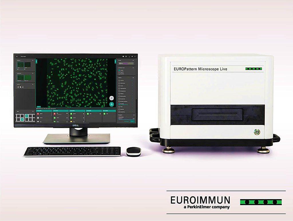 Imagen: EUROPattern Microscope Live: microscopía de fluorescencia ultrarrápida que detecta automáticamente anticuerpos anticitoplasma de neutrófilos (Fotografía cortesía de EUROIMMUN AG).
