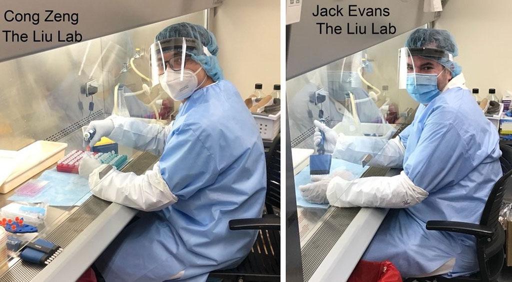 Imagen: Cong Zeng y Jack Evans fueron los primeros autores de un artículo que describe un nuevo ensayo que detecta anticuerpos neutralizantes contra el SARS-CoV-2 (Fotografía cortesía de Ohio State News)