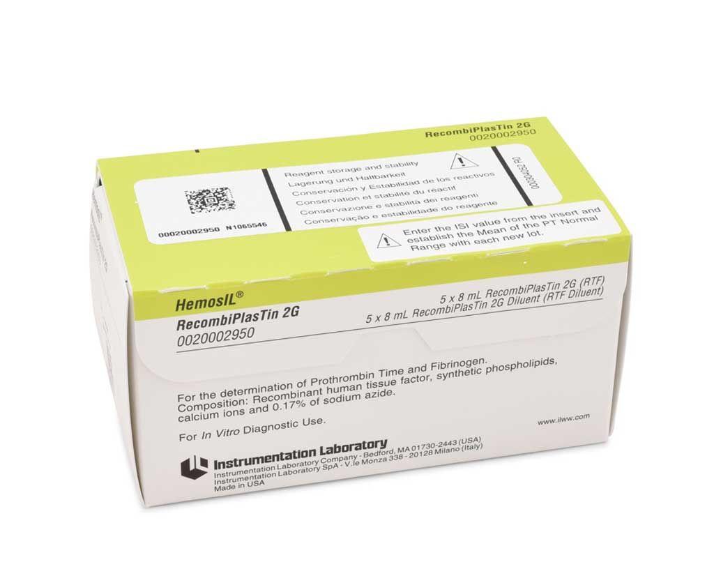 Imagen: Ensayo HemosIL RecombiPlasTin 2G: un reactivo de tromboplastina de alta sensibilidad basado en factor tisular humano recombinante (RTF) para la determinación cuantitativa del tiempo de protrombina en plasma citratado humano (Instrumentation Laboratories).
