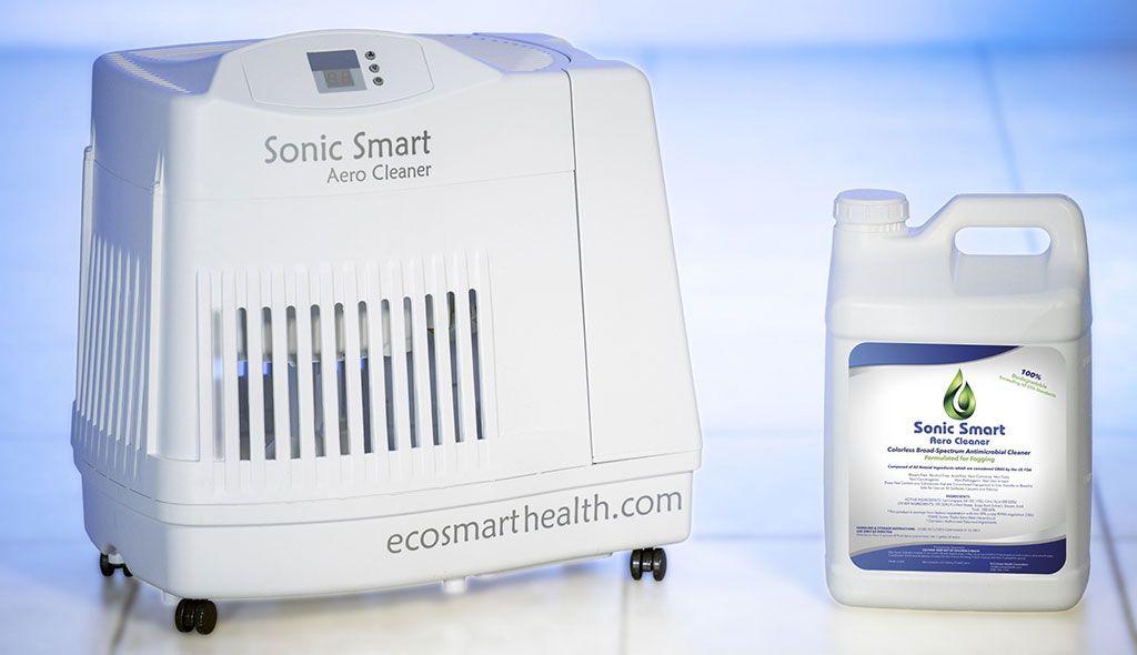 Imagen: El sistema antimicrobiano Sonic Smart y la solución Pure Sonic (Fotografía cortesía de Eco Smart Health)