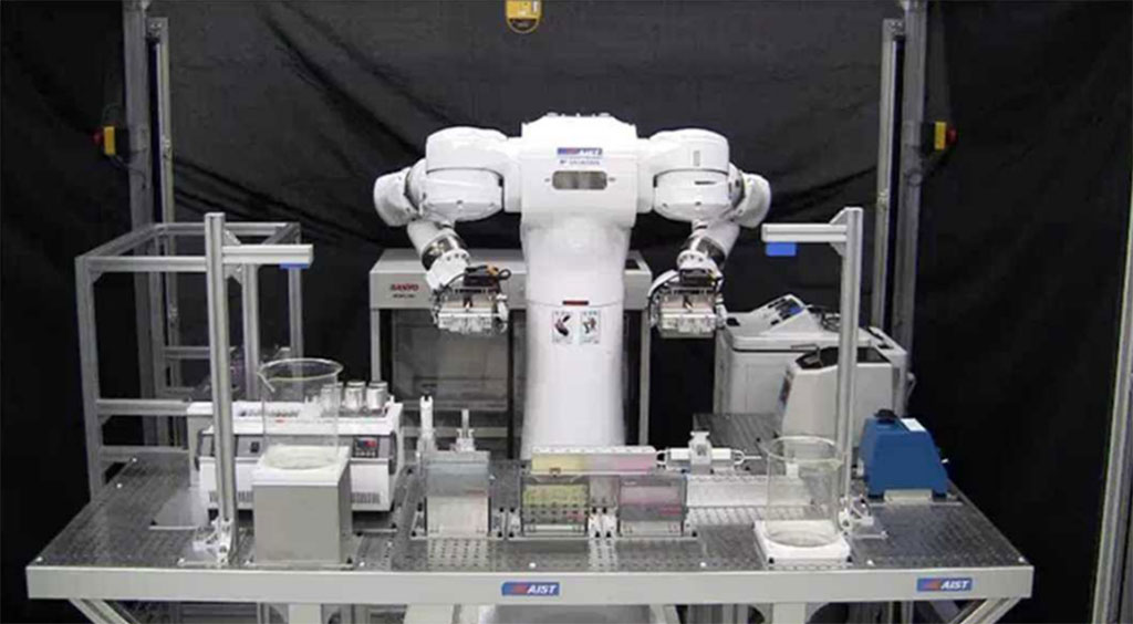 Imagen: Sistema automatizado para análisis de SARS-CoV-2 (Fotografía cortesía de Robotic Biology Institute Inc.)
