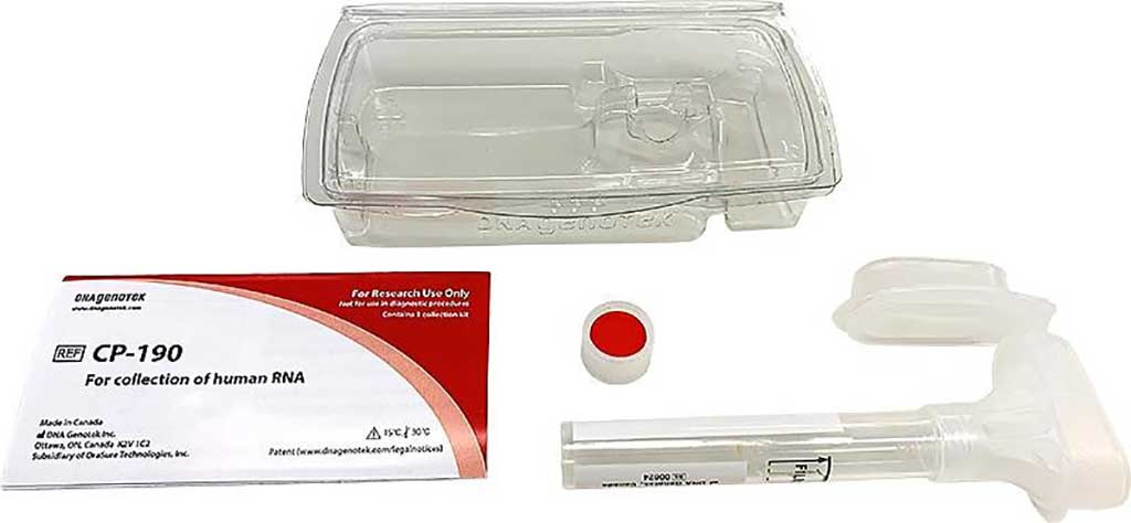 Imagen: Los kits de autorecolección de saliva DNA Genotek CP-190 (Fotografía cortesía de Kyodo International Inc)