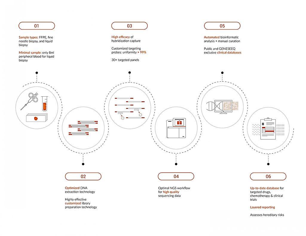 Imagen: Esquemas del flujo de trabajo para el panel de genes Geneseeq Prime 425 (Fotografía cortesía de Geneseeq Technology)