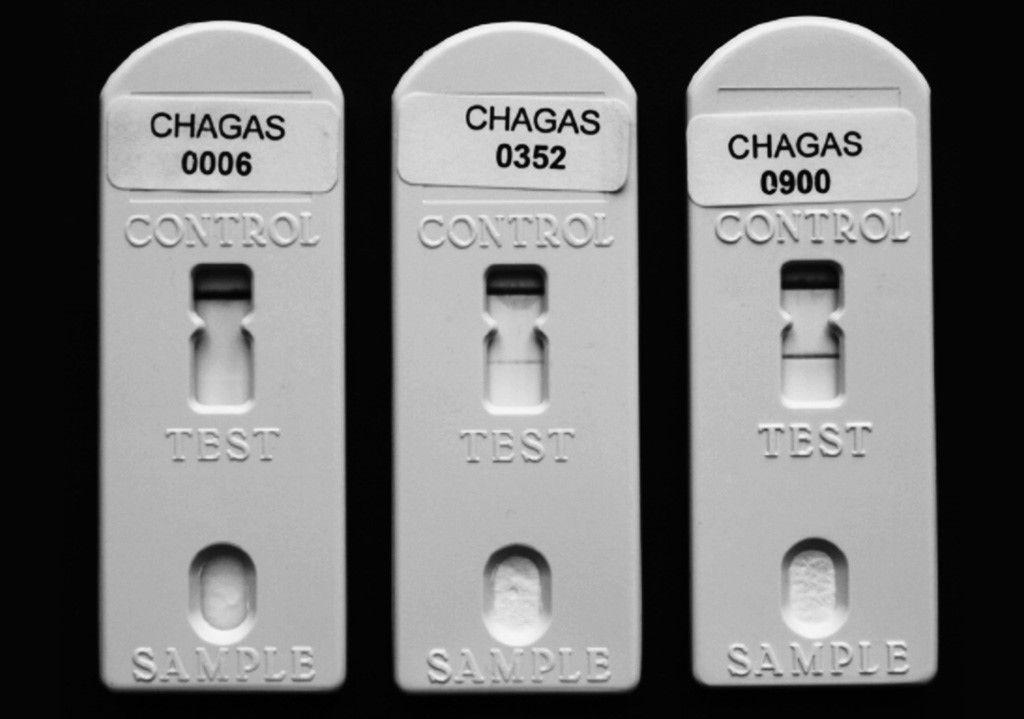 Imagen: Ejemplos de resultados negativos y positivos de la prueba Chagas Stat-Pak RDT. De izquierda a derecha, se muestran los resultados de Stat-Pak negativos, débilmente positivos y fuertemente positivos (Fotografía cortesía de Yves Jackson)
