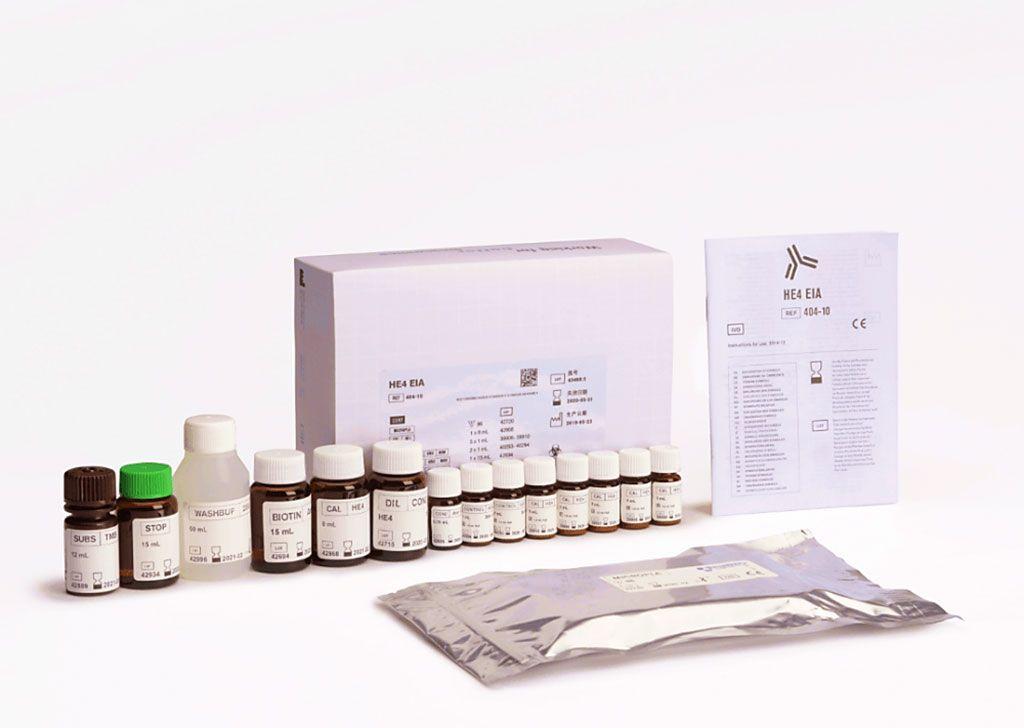 Imagen: El HE4 EIA es un ensayo inmunométrico enzimático para la determinación cuantitativa de la proteína 4 del epidídimo humano (HE4) en suero humano. HE4 se expresa constantemente en pacientes con cáncer de ovario, y ha demostrado una mayor sensibilidad y especificidad que el CA125 solo (Fotografía cortesía de Fujirebio)