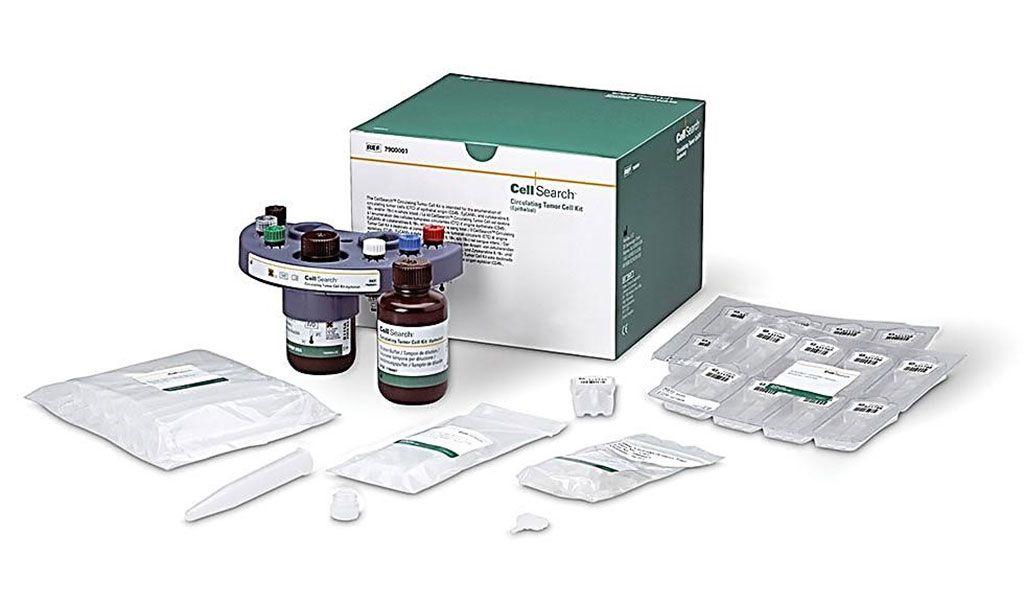 Imagen: El kit de células tumorales circulantes CellSearch, diseñado para el recuento de células tumorales circulantes de origen epitelial (CD45-, EpCAM+ y citoqueratinas 8, 18+ y/o 19+ y PD-L1) en sangre total (Fotografía cortesía de CellSearch/Menarini Silicon Biosystems)