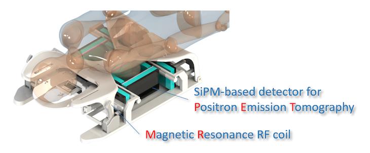 Imagen: El detector SiPM (Fotografía cortesía de Volkmar Schultz, Universidad de Aquisgrán).