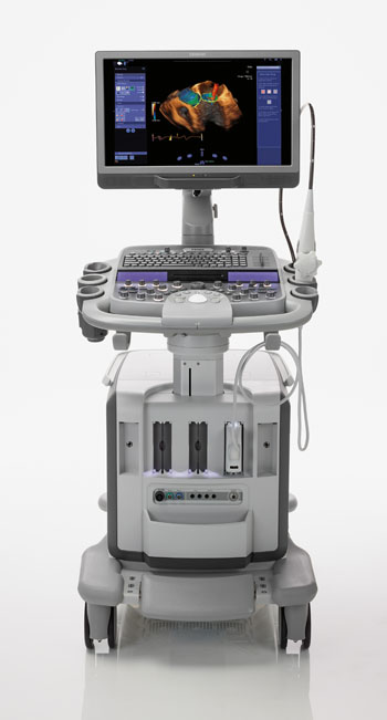 Imagen: El Acuson SC2000 Prime Edition, ofrece imagenología Doppler, a color, en directo, de volumen completo, utilizando una sonda transesofágica Echo (TEE) (Fotografía cortesía de Siemens Healthineers).