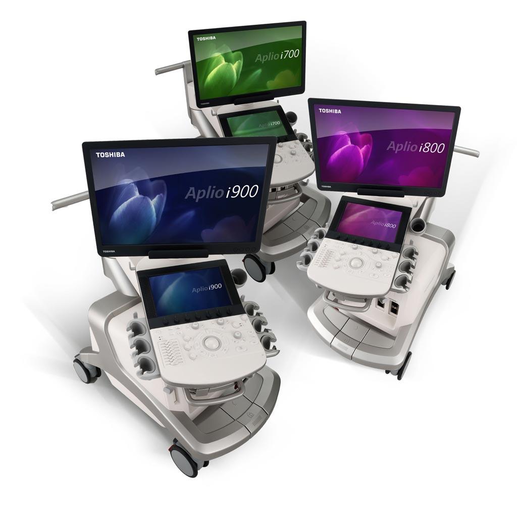 Imagen: Los sistemas Aplio i700, Aplio i800 y Aplio i900 (Fotografía cortesía de Toshiba Medical Systems).