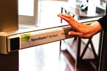 Image: A door handle coated with a NanoSeptic Surface (Photo courtesy of NanoTouch Materials).