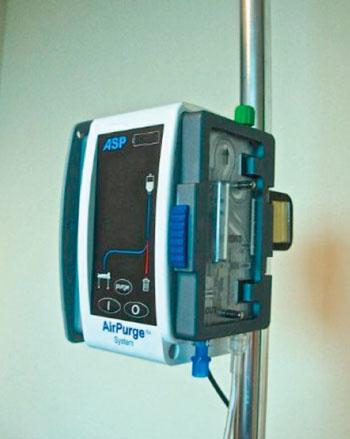 Automatic System Purges Bubbles from IV Lines - Surgical