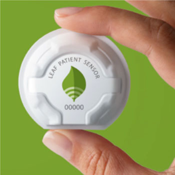 Image: The Leaf patient sensor (Photo courtesy of Leaf Healthcare).