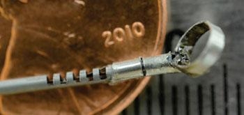Image: A curette mounted upon the tiny nitinol wrist (Photo courtesy of Vanderbilt University).